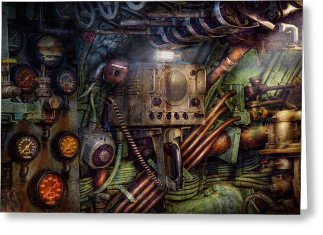 Steampunk - Naval - The Comm Station Greeting Card by Mike Savad