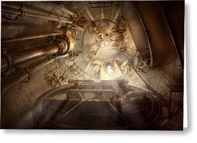 Steampunk - Naval - The Escape Hatch Greeting Card by Mike Savad