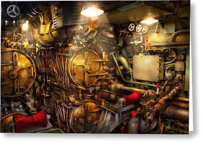 Steampunk - Naval - The torpedo room Greeting Card by Mike Savad