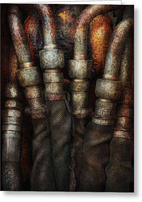 Mechanism Photographs Greeting Cards - Steampunk - Pipes Greeting Card by Mike Savad