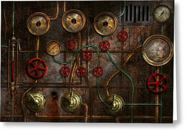 Plumb Greeting Cards - Steampunk - Plumbing - Job jitters Greeting Card by Mike Savad
