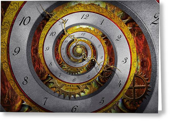 Geek Photographs Greeting Cards - Steampunk - Spiral - Infinite time Greeting Card by Mike Savad