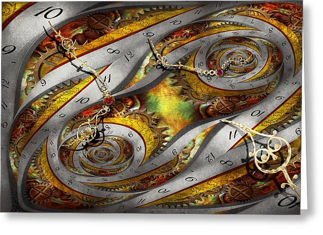 Geek Photographs Greeting Cards - Steampunk - Spiral - Space time continuum Greeting Card by Mike Savad