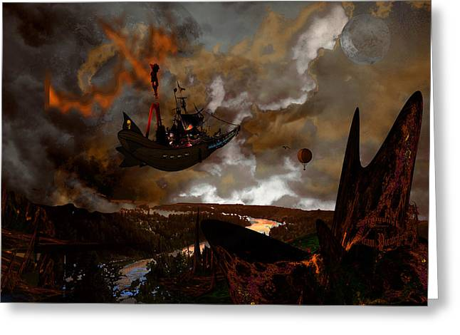 Steampunk - Steam Pirates Greeting Card by Tony Marquez