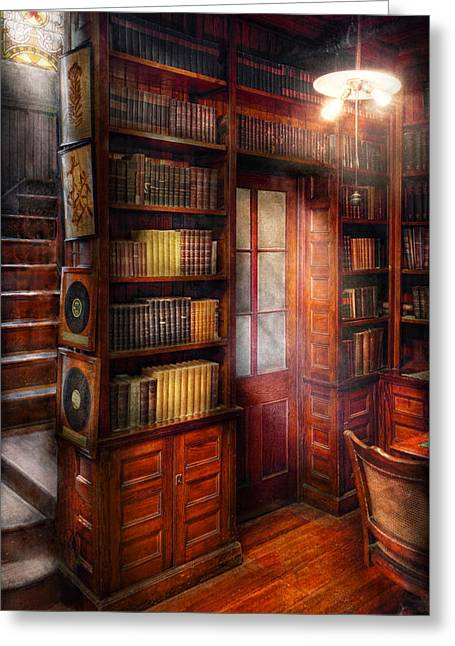 Entry-way Greeting Cards - Steampunk - The semi-private study  Greeting Card by Mike Savad