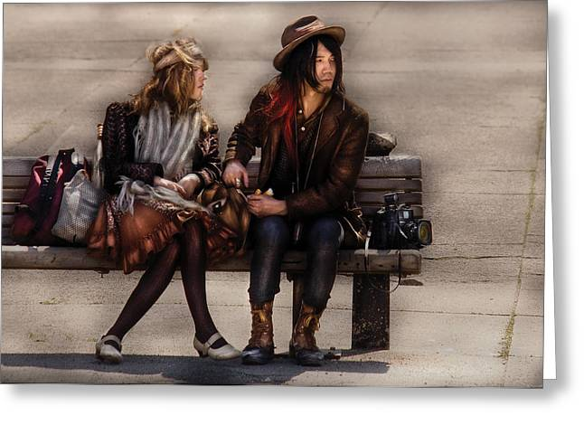 Husband Waiting Greeting Cards - Steampunk - Time Travelers Greeting Card by Mike Savad