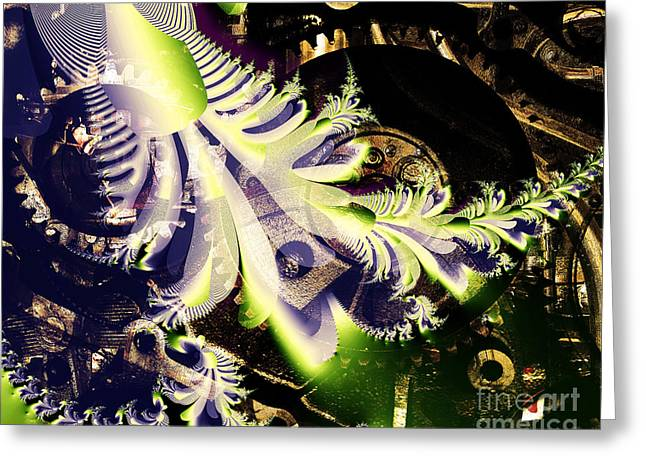 Steampunk Abstract Fractal . S2 Greeting Card by Wingsdomain Art and Photography