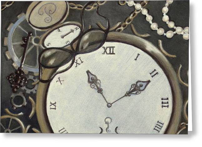 Clock Pastels Greeting Cards - Steampunk Adventure Detail 1 Greeting Card by Pamela Poole