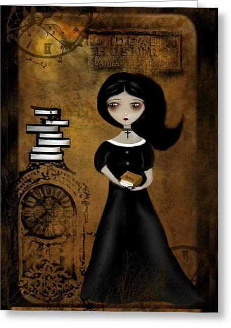 Girl Digital Art Greeting Cards - Steampunk Bibliophile Greeting Card by Charlene Zatloukal