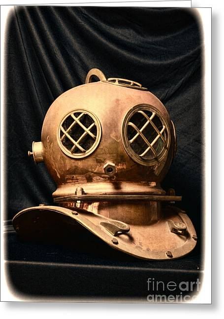 Hard Hat Greeting Cards - Steampunk - Diving - Diving Helmet Greeting Card by Paul Ward