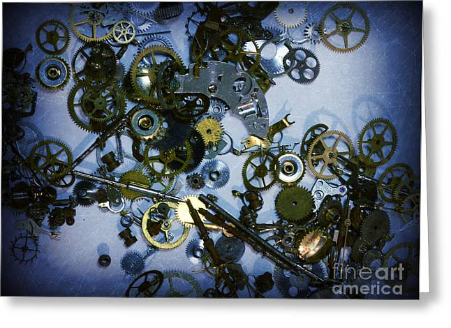 Cog Greeting Cards - Steampunk Gears - Time Destroyed Greeting Card by Paul Ward