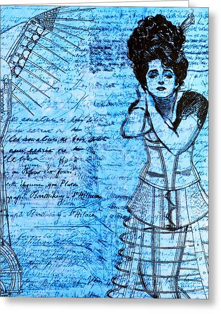 Handwritten Greeting Cards - Steampunk Girls in Blues Greeting Card by Nikki Marie Smith