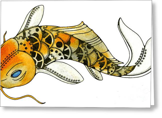Nora Blansett Mixed Media Greeting Cards - Steampunk Koi Greeting Card by Nora Blansett