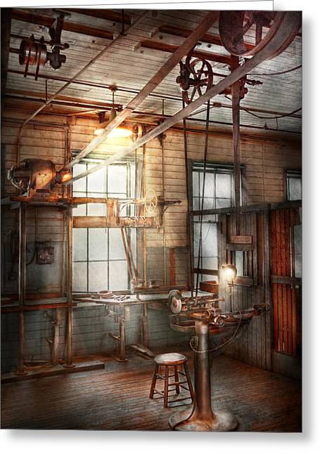 Machinst Greeting Cards - Steampunk - Machinist - The grinding station Greeting Card by Mike Savad