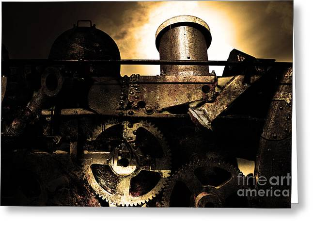 Steampunk Railway Transcontinental Line . Where Steam Is Still King . Gold Version Greeting Card by Wingsdomain Art and Photography