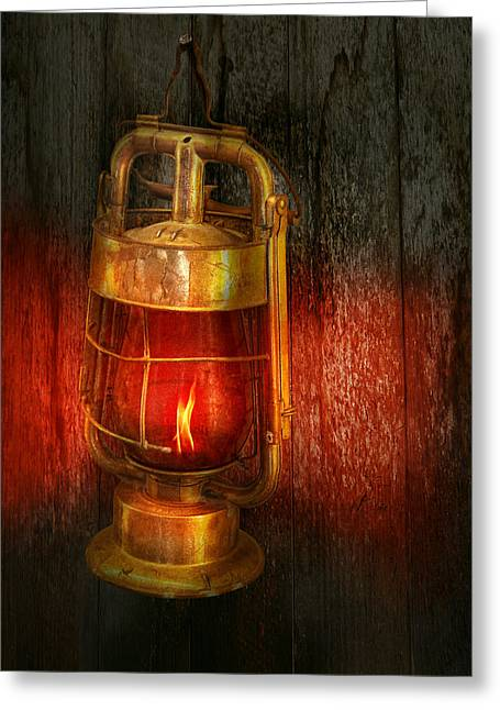Redlight Greeting Cards - Steampunk - Red light district Greeting Card by Mike Savad