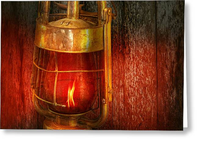 Steampunk - Red light district Greeting Card by Mike Savad