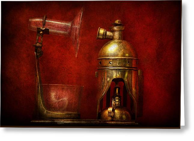 Steampunk - The Torch Greeting Card by Mike Savad