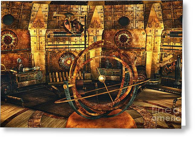 Lab Mix Greeting Cards - Steampunk Time Lab Greeting Card by Jutta Maria Pusl