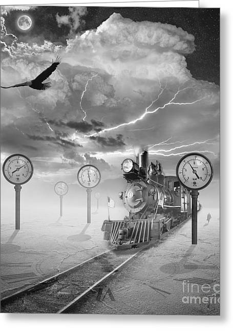 Gauge Greeting Cards - Steampunk Traveler Greeting Card by Keith Kapple