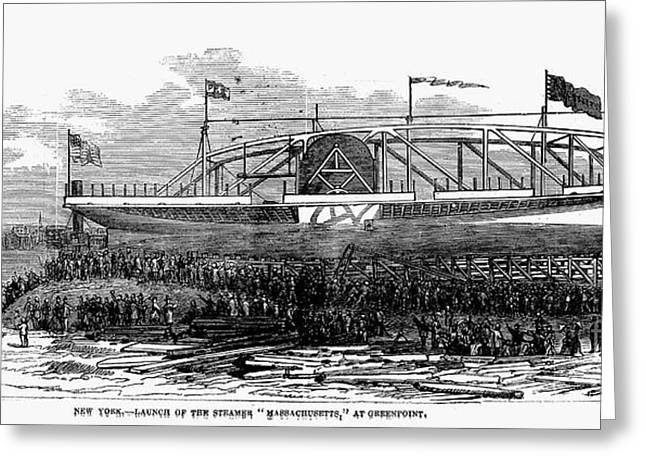 1876 Greeting Cards - Steamship Launch, 1876 Greeting Card by Granger