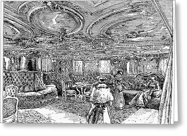 First-class Greeting Cards - STEAMSHIP SALON, c1890 Greeting Card by Granger