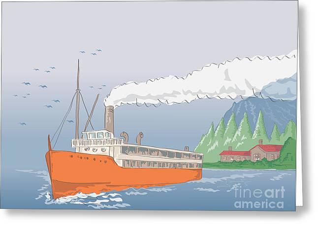 Steamship Steamboat Vintage Greeting Card by Aloysius Patrimonio