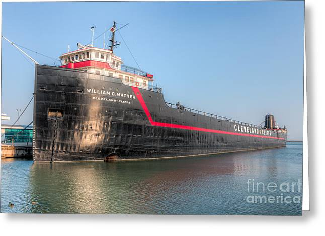 Clarence Holmes Greeting Cards - Steamship William G. Mather I Greeting Card by Clarence Holmes