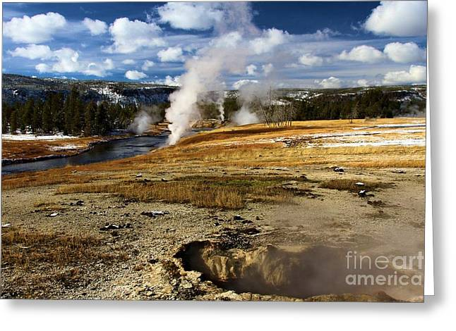 Rivers In The Fall Greeting Cards - Steamy In Yellowstone Greeting Card by Adam Jewell