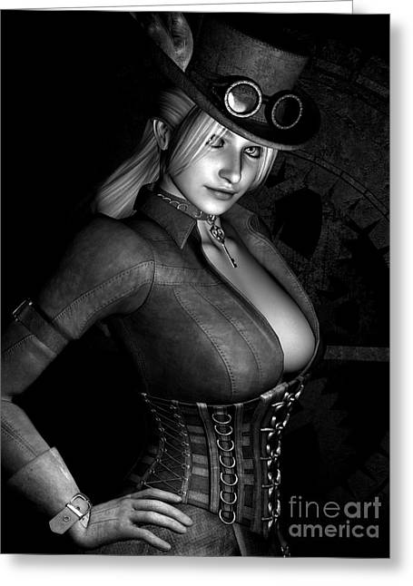 Goth Girl Digital Art Greeting Cards - Steamy SteamPunk BW Greeting Card by Alexander Butler