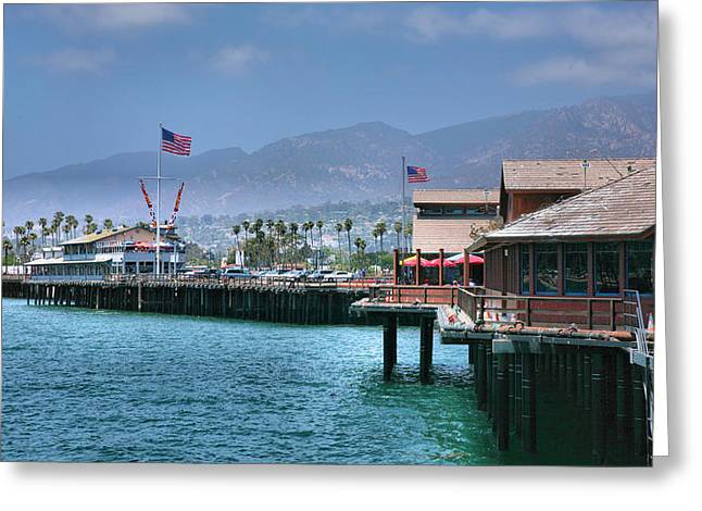 Best Sellers -  - Pacific Ocean Prints Greeting Cards - Stearns Wharf III Greeting Card by Steven Ainsworth