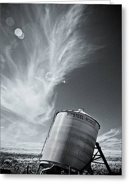 Grain Bin Greeting Cards - Steel Bin Greeting Card by Ian MacDonald