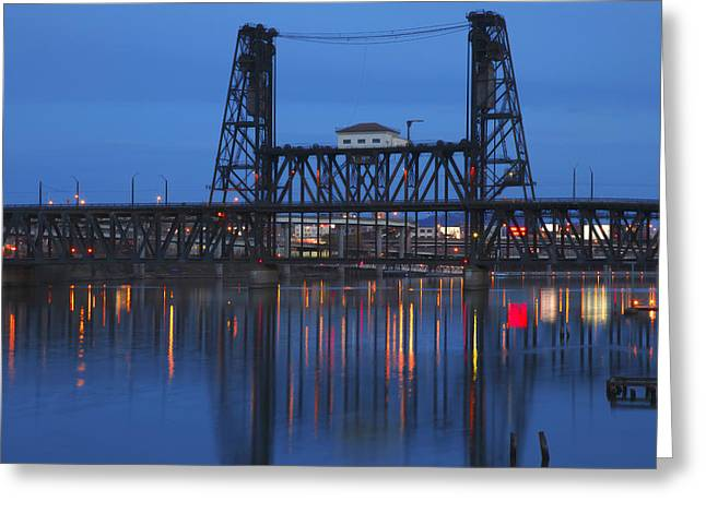 Best Sellers -  - Wooden Platform Greeting Cards - Steel bridge at night Portland Oregon. Greeting Card by Gino Rigucci