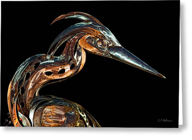 Christopher Holmes Greeting Cards - Steel  Egret At Night Greeting Card by Christopher Holmes