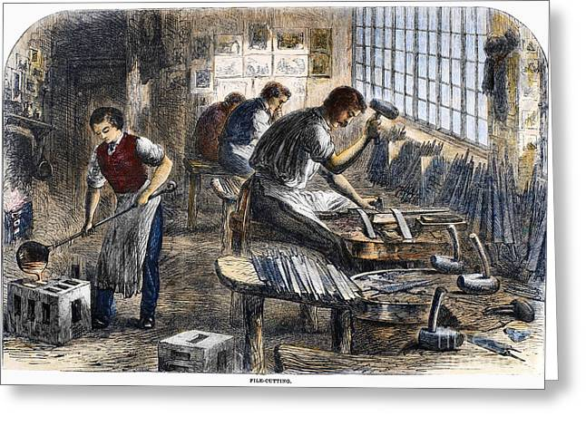 Apron Greeting Cards - Steel Factory, 1866 Greeting Card by Granger
