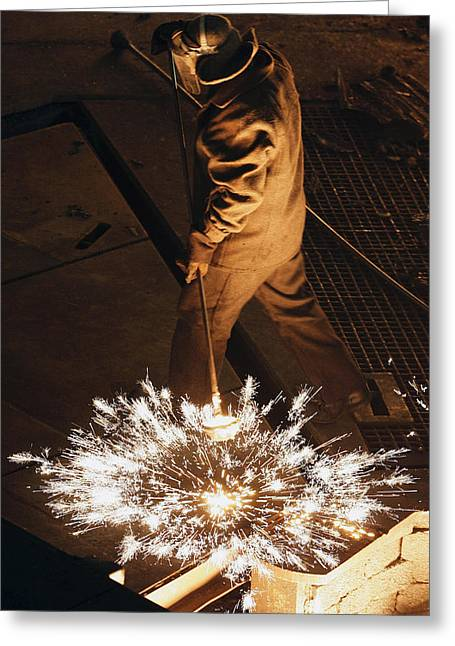 Steel Foundry Worker Greeting Card by Ria Novosti