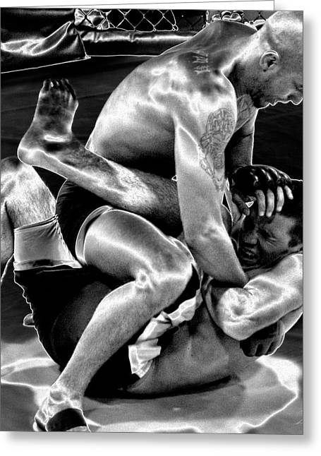 Action Sports Art Greeting Cards - Steel Men Fighting 5 Greeting Card by Frederic A Reinecke