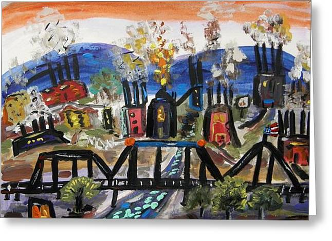Stack Drawings Greeting Cards - Steeltown U.S.A. Greeting Card by Mary Carol Williams