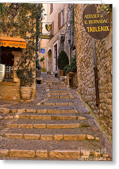 Medieval Village Greeting Cards - Steep Street in St Paul de Vence Greeting Card by Louise Heusinkveld