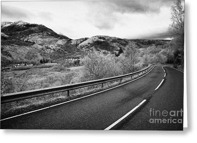 Mountain Road Greeting Cards - Steep Twisting High Road Into Kinlochleven In The Scottish Highlands Greeting Card by Joe Fox