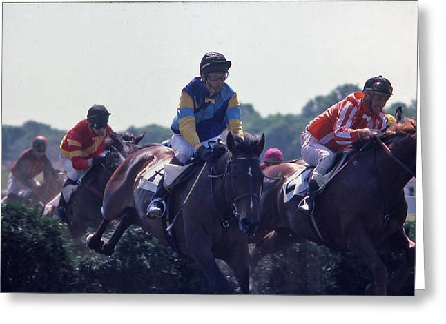 Steeplechase - 3 Greeting Card by Randy Muir
