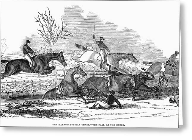 Harrow Greeting Cards - Steeplechase, 1845 Greeting Card by Granger