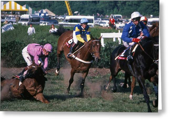 Warner Park Greeting Cards - Steeplechase Spill - 1 Greeting Card by Randy Muir