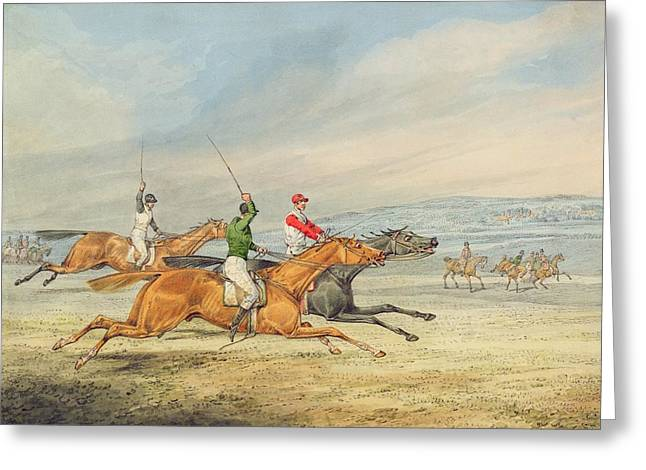 Jockeys Greeting Cards - Steeplechasing Greeting Card by Henry Thomas Alken
