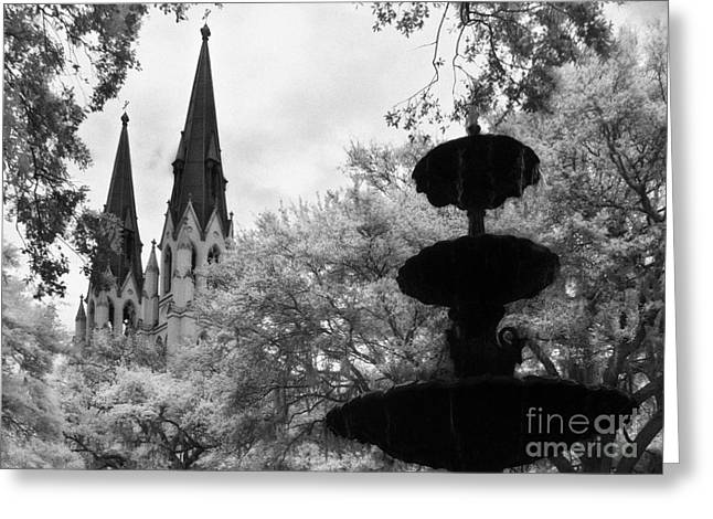 Jeff Holbrook Greeting Cards - Steeples and Fountain Greeting Card by Jeff Holbrook