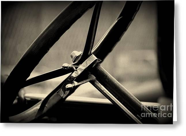 Monochrome Greeting Cards - Steering Wheel  Greeting Card by Susanne Van Hulst