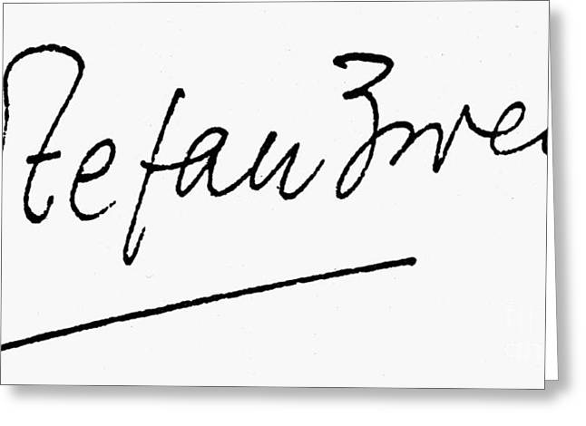 Autograph Greeting Cards - Stefan Zweig (1881-1942) Greeting Card by Granger
