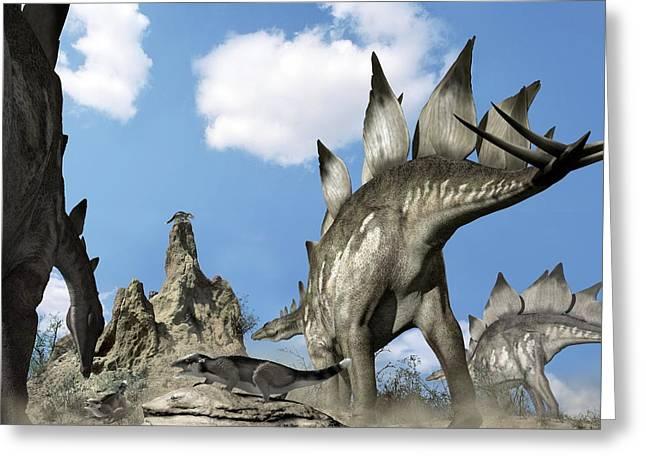 Stegosaurus Greeting Cards - Stegosaurus Dinosaur Greeting Card by Jose Antonio PeÑas