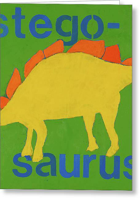 Boys Room Greeting Cards - Stegosaurus Greeting Card by Laurie Breen