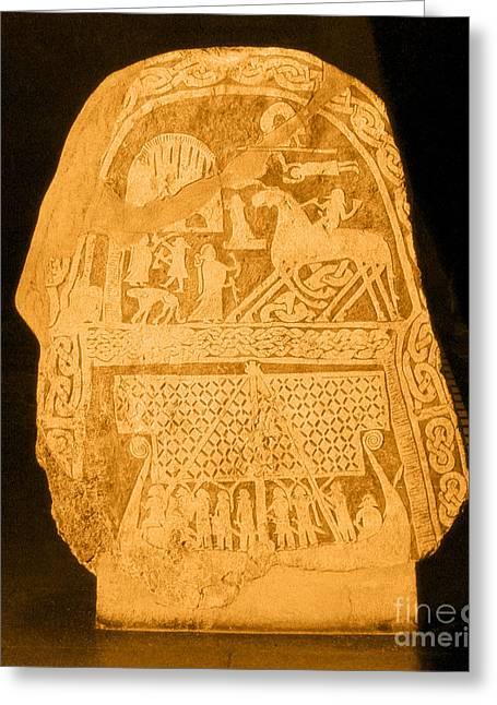Norse Mythology Greeting Cards - Stele Depicting Norse Mythology Greeting Card by Photo Researchers